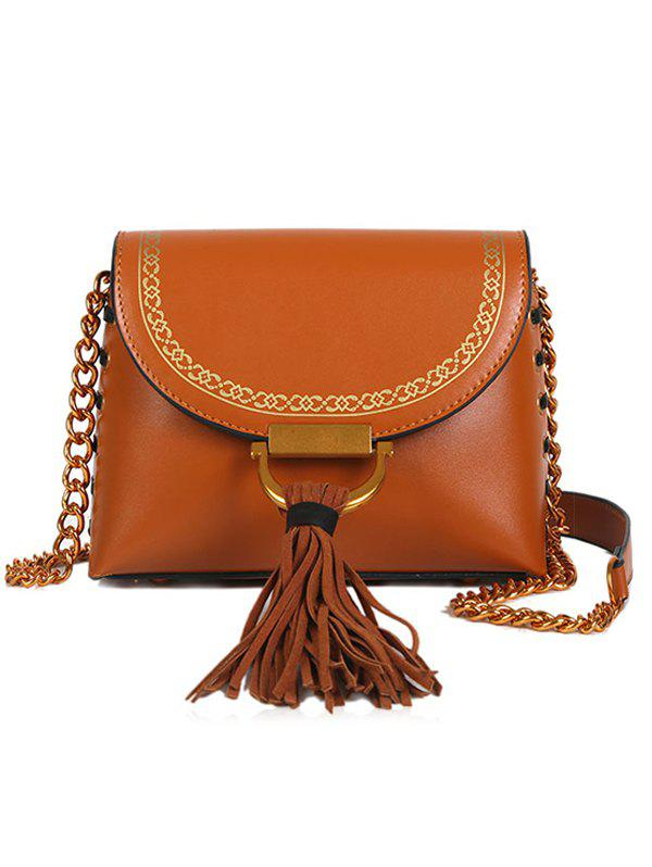 Lace Up Design Tassel Hasp Closure Decor Shoulder Bag - LIGHT BROWN