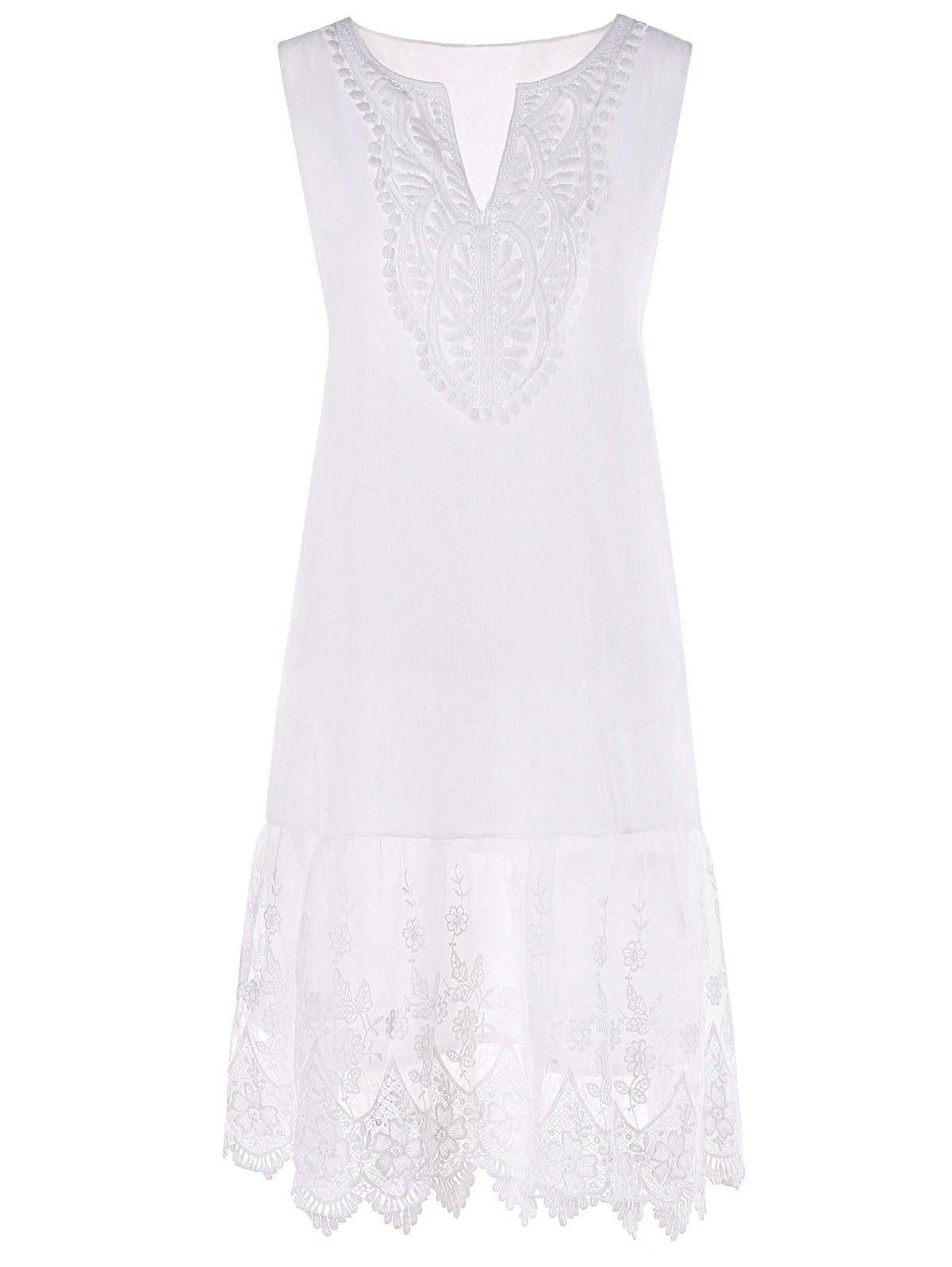 V Neck Embroidered Scalloped Trapeze Dress - WHITE 2XL