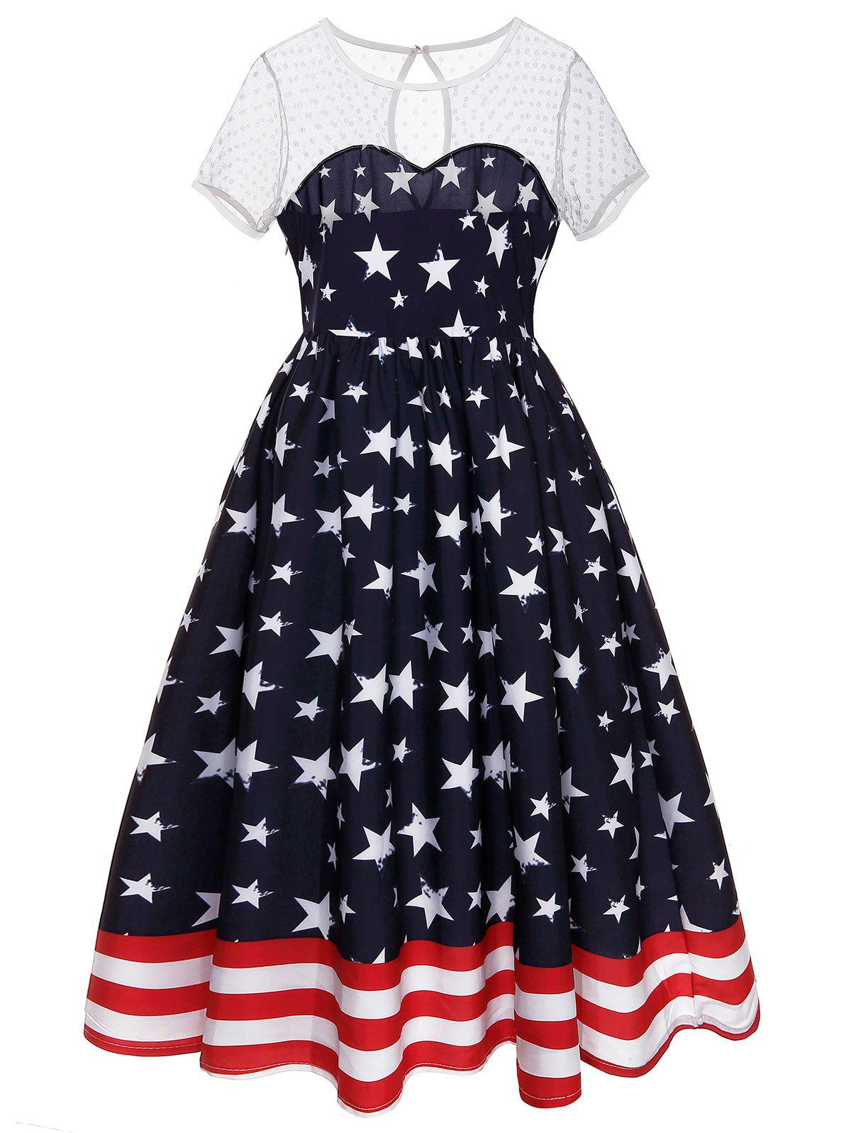Sheer Dot Yoke American Flag Dress - DEEP BLUE 2XL
