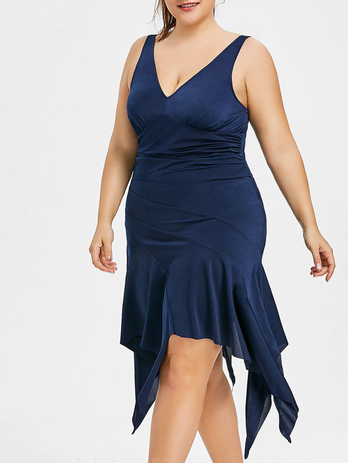 Plus Size Handkerchief Casual Sleeveless Dress