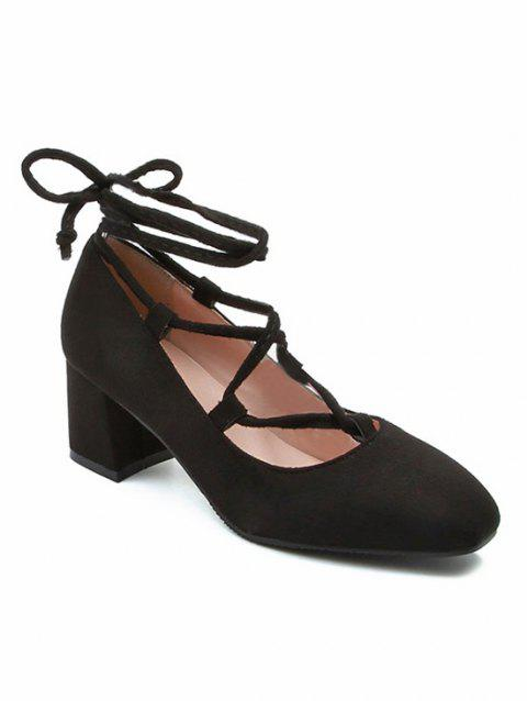 Retro Chunky High Heel Lace Up Ankle Wrap Pumps - BLACK 41