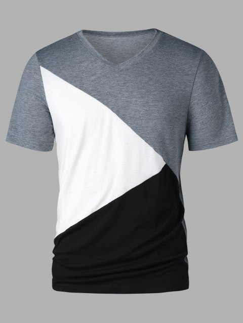 Three Tones Short Sleeve T-shirt - GRAY 2XL
