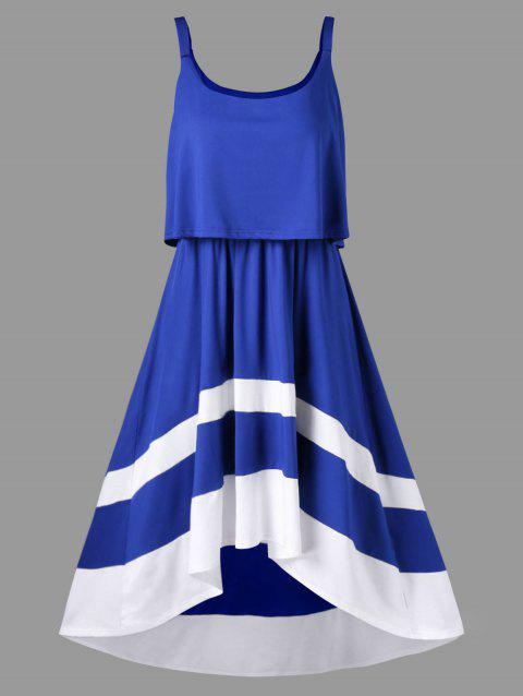 Sleeveless Overlay Dress - BLUE XL