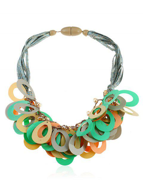 Artificial Crystal Beads Geometric Rope Necklace - multicolor