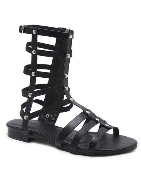 a8f9a5c41 2019 Low Heel Strappy Gladiator Sandals In BLACK 39