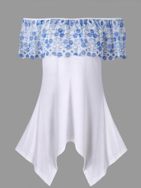 Lace Overlay Off Shoulder Handkerchief Tee - WHITE 2XL