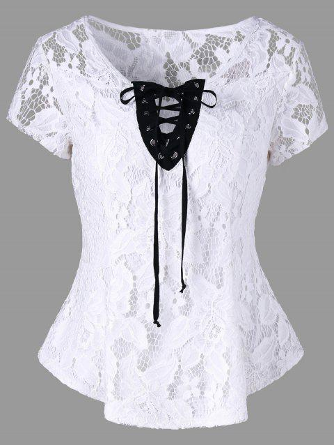 Openwork Criss-cross Lace Top - WHITE L