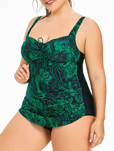 Plus Size Paisley Printed Ruched Swimsuit - GREENISH BLUE 5X
