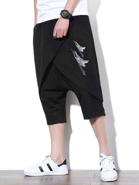 Embroidered Cropped Pants - BLACK XL