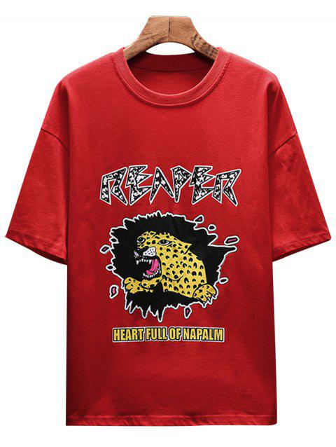 Drop Shoulder Sleeves Tiger Letter Print T-shirt - FIRE ENGINE RED M
