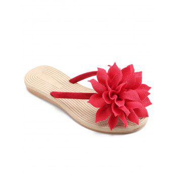 Flat Heel Flower Flip Flop for Holiday - RED 40