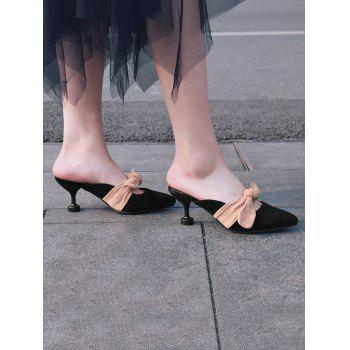 Mid Heel Bow Mules Shoes - BLACK 41