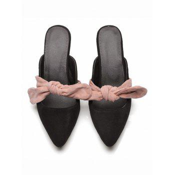 Mid Heel Bow Mules Shoes - BLACK 36