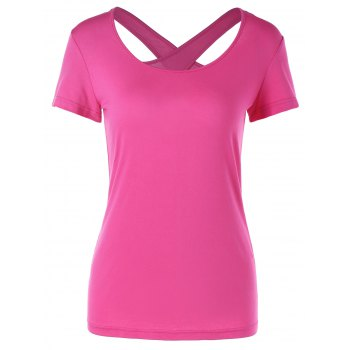 Caged Slimming Tee - ROSE RED 2XL