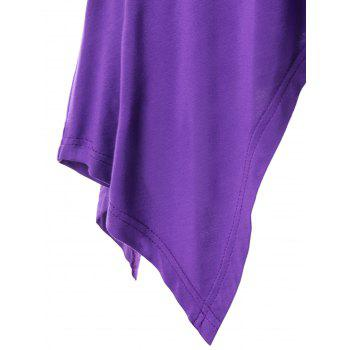 Empire Waist Strappy Handkerchief Tank Top - PURPLE 2XL