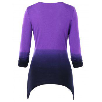 Full Sleeve Ombre Crescent Cut T-shirt - PURPLE XL