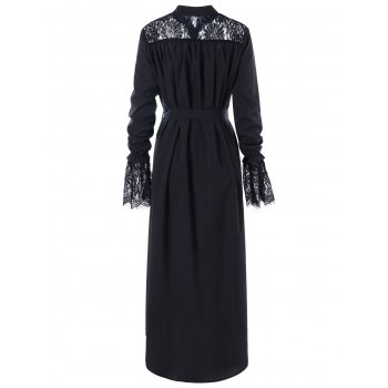Lace Panel High Low Maxi Shirt Dress - BLACK XL