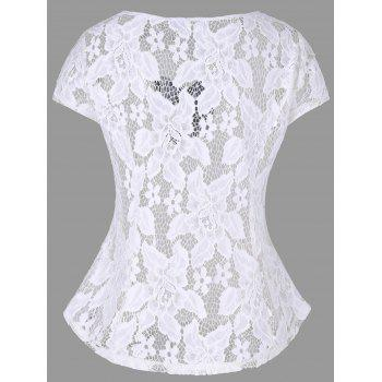 Openwork Criss-cross Lace Top - WHITE M