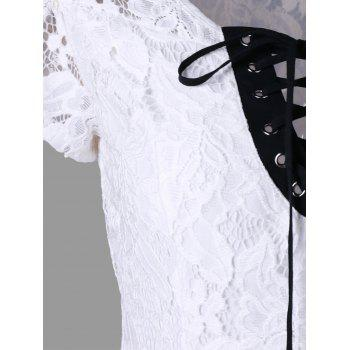 Openwork Criss-cross Lace Top - WHITE 2XL