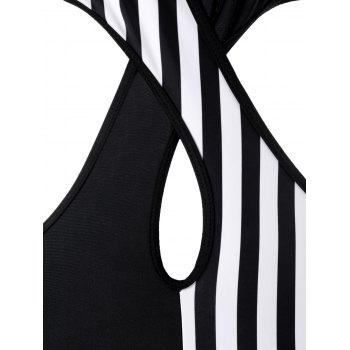 Halter Color Block Criss Cross Monokini Swimsuit - BLACK M