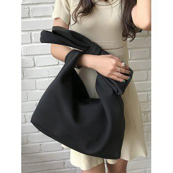 Lovely Bowknot Space Cotton Shopping Hand Bag - BLACK