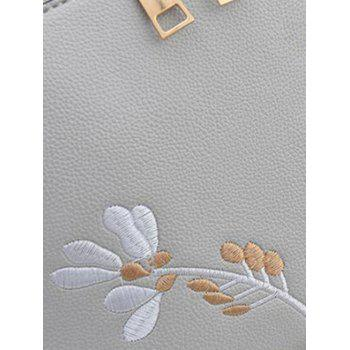 Faux Leather Casual Flower Crossbody Bag - GRAY