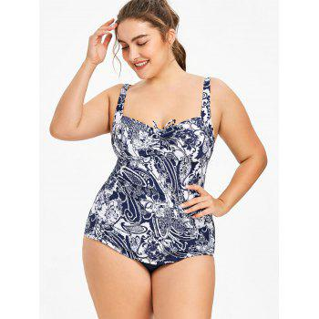 Plus Size Paisley Printed Ruched Swimsuit - WHITE 3X