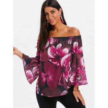 Long Sleeve Off The Shoulder Floral Blouse - ROSE RED S