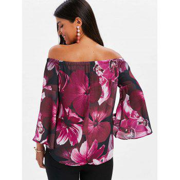 Long Sleeve Off The Shoulder Floral Blouse - ROSE RED 2XL