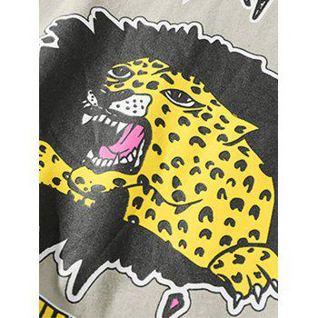 Drop Shoulder Sleeves Tiger Letter Print T-shirt - LIGHT KHAKI L
