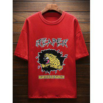 Drop Shoulder Sleeves Tiger Letter Print T-shirt - FIRE ENGINE RED 2XL