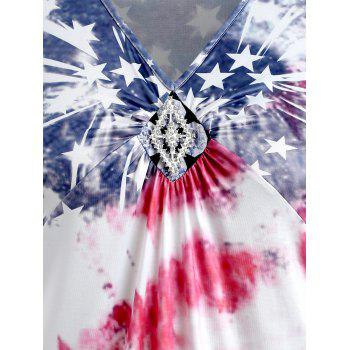 Plus Size V Neck American Flag Tank Top - multicolor 1X