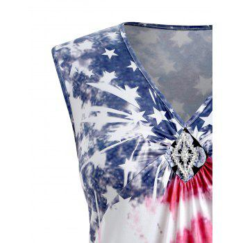 Plus Size V Neck American Flag Tank Top - multicolor 2X
