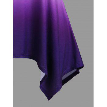 Plus Size Ombre Crescent Hem Tank Top - PURPLE 5XL