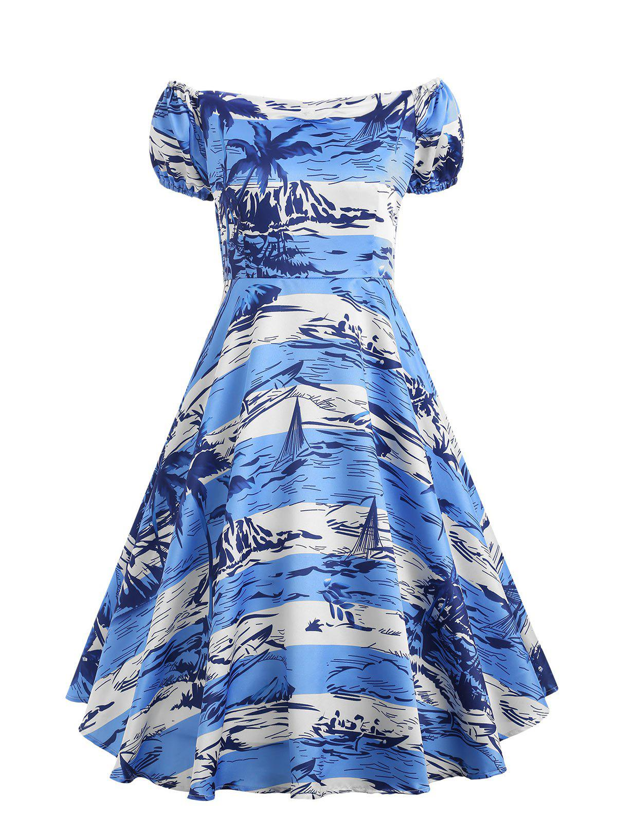Tropical Palm Tree Printed Vintage Dress 261537302