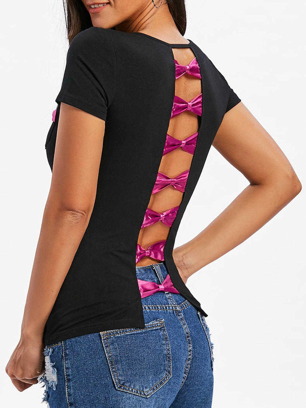 Bow Back V Neck Fitted T-shirt - BLACK / ROSE RED 2XL