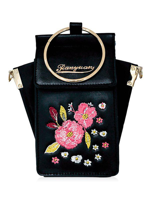 Faux Leather Floral Embroidery Metal Ring Crossbody Bag - BLACK