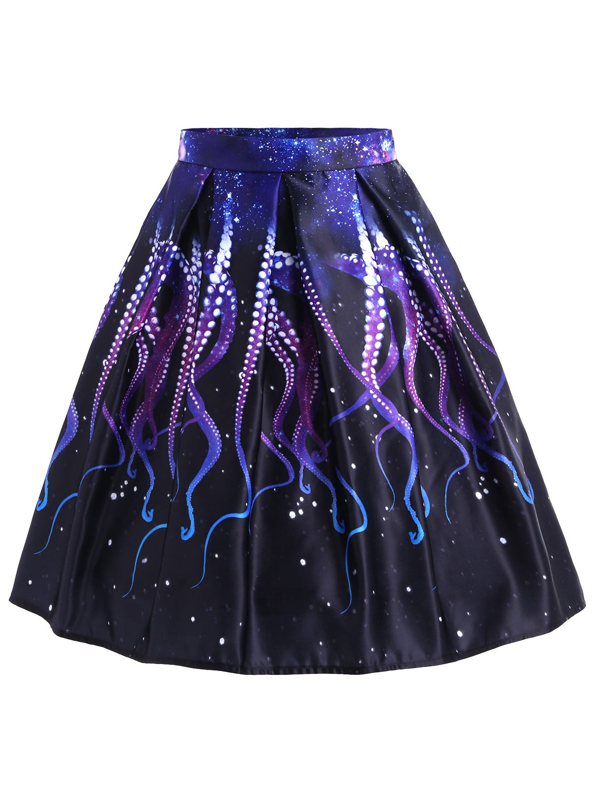 Octopus Claw A-line Skirt - BLACK XL