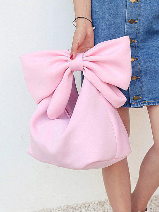 Lovely Bowknot Space Cotton Shopping Hand Bag - LIGHT PINK