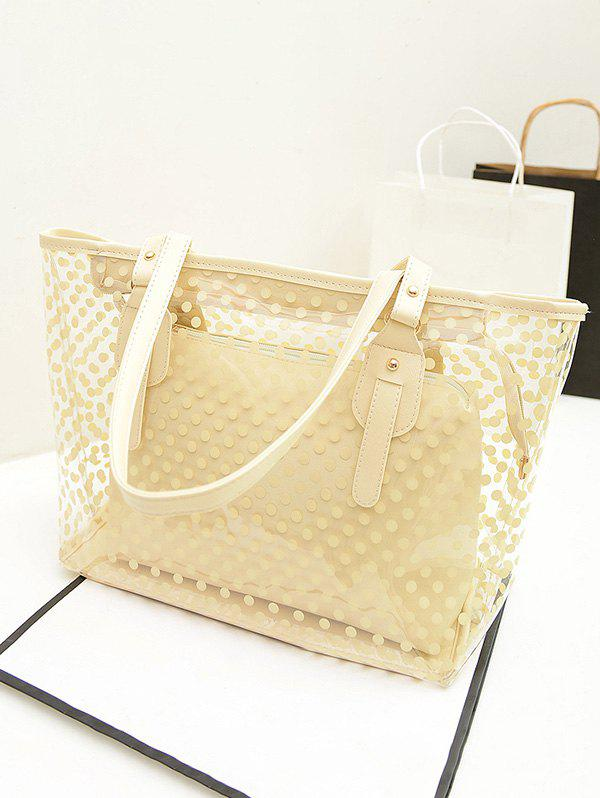2 Pieces Big Capacity Transparent Dots Beach Tote Bag - GOLD