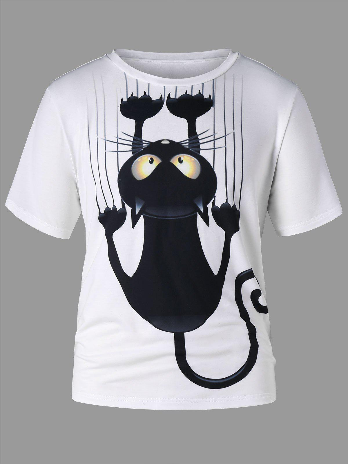 Short Sleeve Black Cat T-shirt - WHITE 2XL