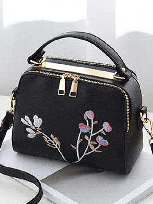 Faux Leather Casual Flower Crossbody Bag - BLACK