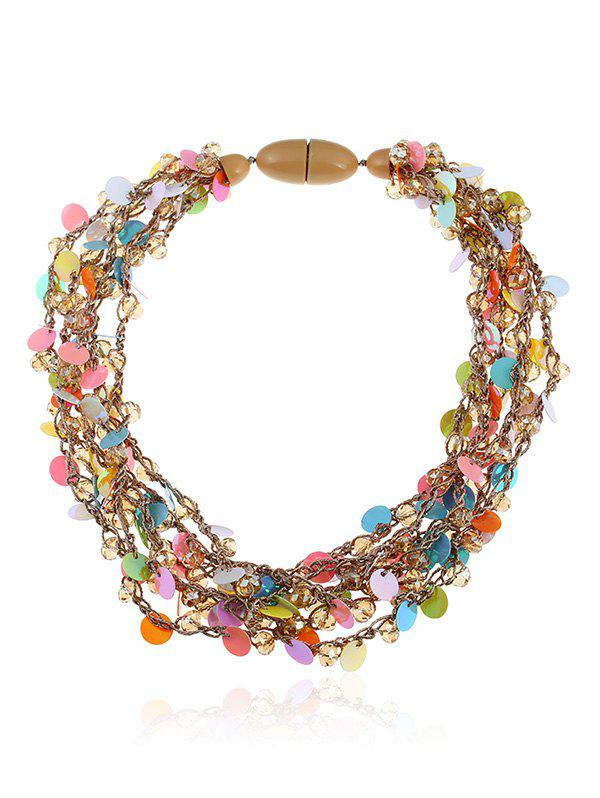 Multilayered Artificial Crystal Beads Sequin Necklace