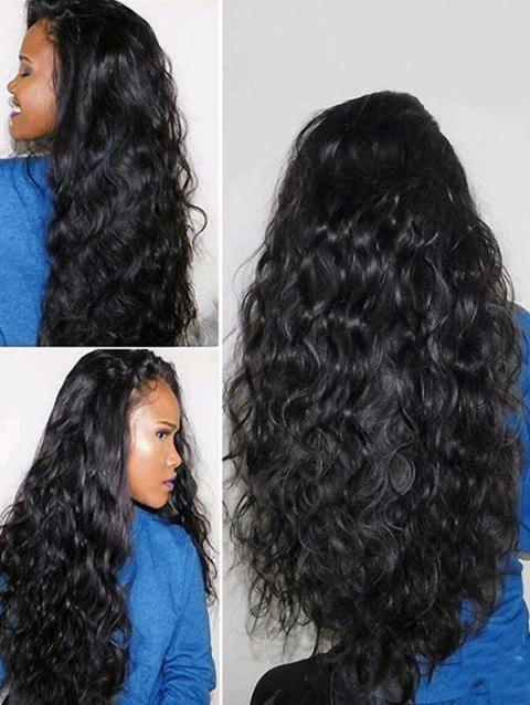 Long Oblique Bang Fluffy Wavy Lace Front Synthetic Wig - NATURAL BLACK