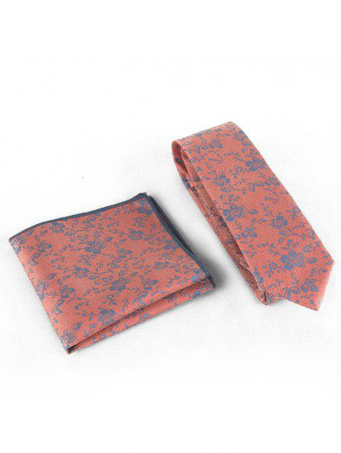 Floral Pattern Business Necktie and Handkerchief Set - KHAKI ROSE