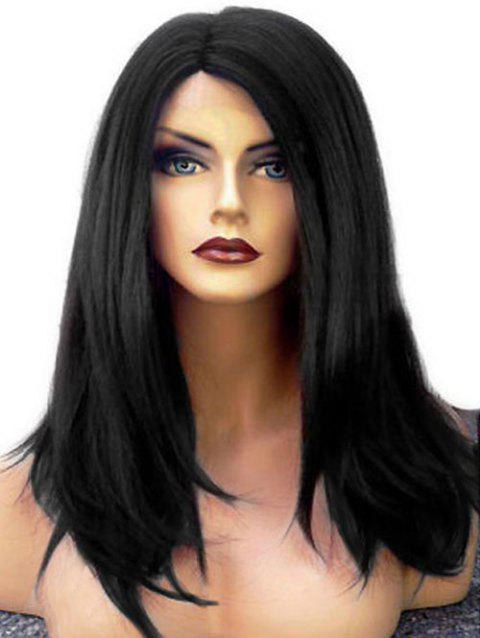 Medium Straight Lace Front Synthetic Wig with Side Parting - NATURAL BLACK