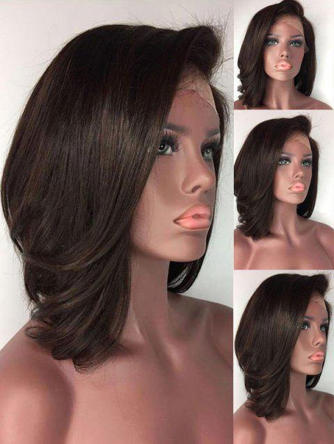 Short Side Part Slightly Curly Lace Front Synthetic Wig - DEEP BROWN