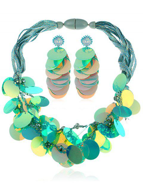 Artificial Crystal Bead Sequins Necklace and Earrings - GREEN