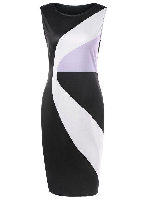 Sleeveless Color Block Sheath Dress - multicolor L