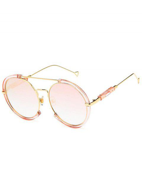 Metal Frame Street Snap Circle Sunglasses - LIGHT PINK